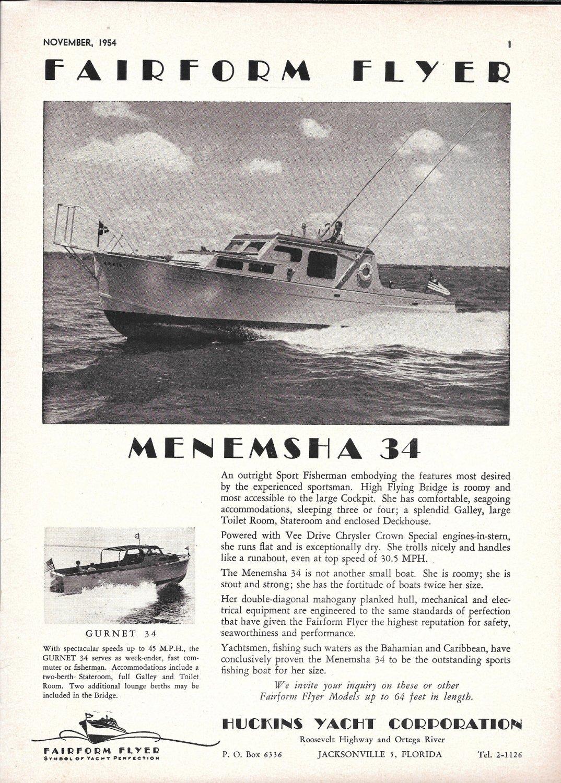 1954 Huckins Menemsha 34 Fairform Flyer Yacht Ad- Nice Photo