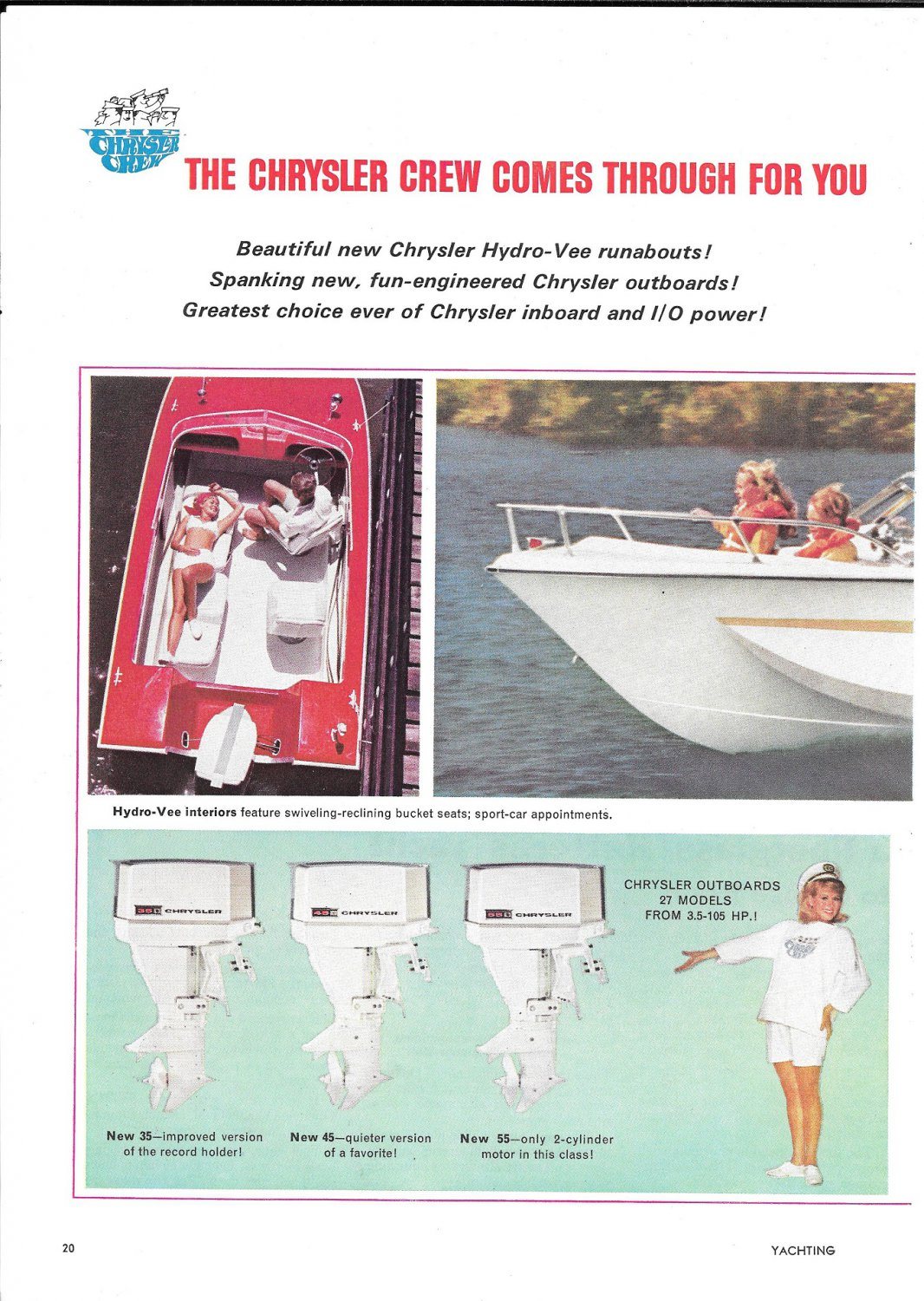 1967 Chrysler Marine Hydro- Vee Boats 2 Page Color Ad-Nice Photo Courier 229