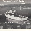 1968 Broadwater 29' Explorer Boat Ad- Great Photo