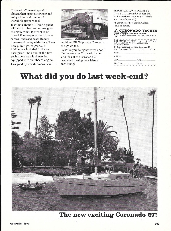 1970 Coronado 27 Sailboat Ad- Nice Photo
