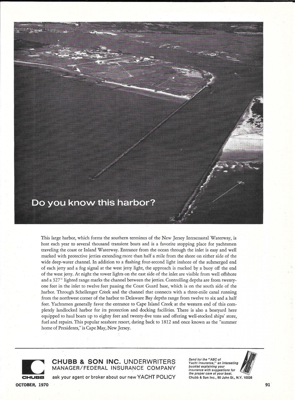 1970 Chubb Insurance Ad- Nice Photo Cape May, New Jersey