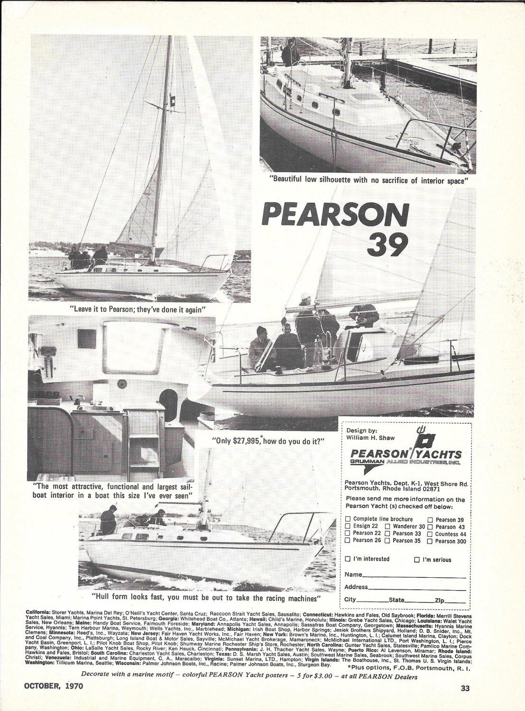 1970 Pearson 39 Sailboat Ad- Nice Photos