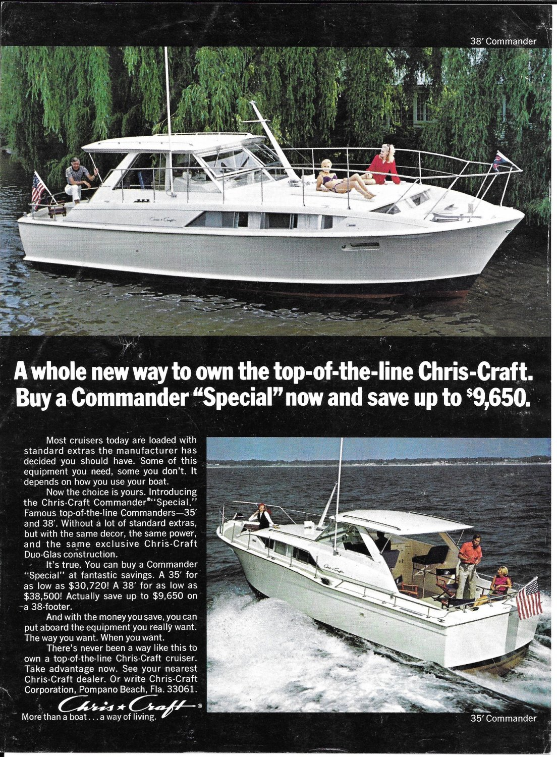 1971 Trojan F-31 & Chris- Craft Commanders 2 Page Double Boats Ad- Nice Photos