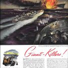 WW II 1943 Electric Boat Co Color Ad- Great Drawing Elco PT Boat in Action