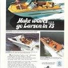 1973 Larson Boats Color Ad- Nice Photo Shark- Consort- All American- Hot Girls