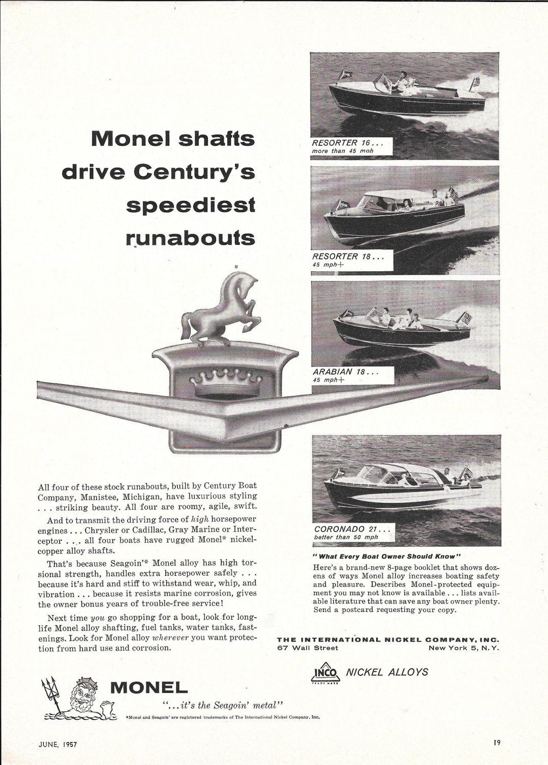 1957 Century Boats Featured oi Monel Metals Ad- 16- 18- 18- 21' Models