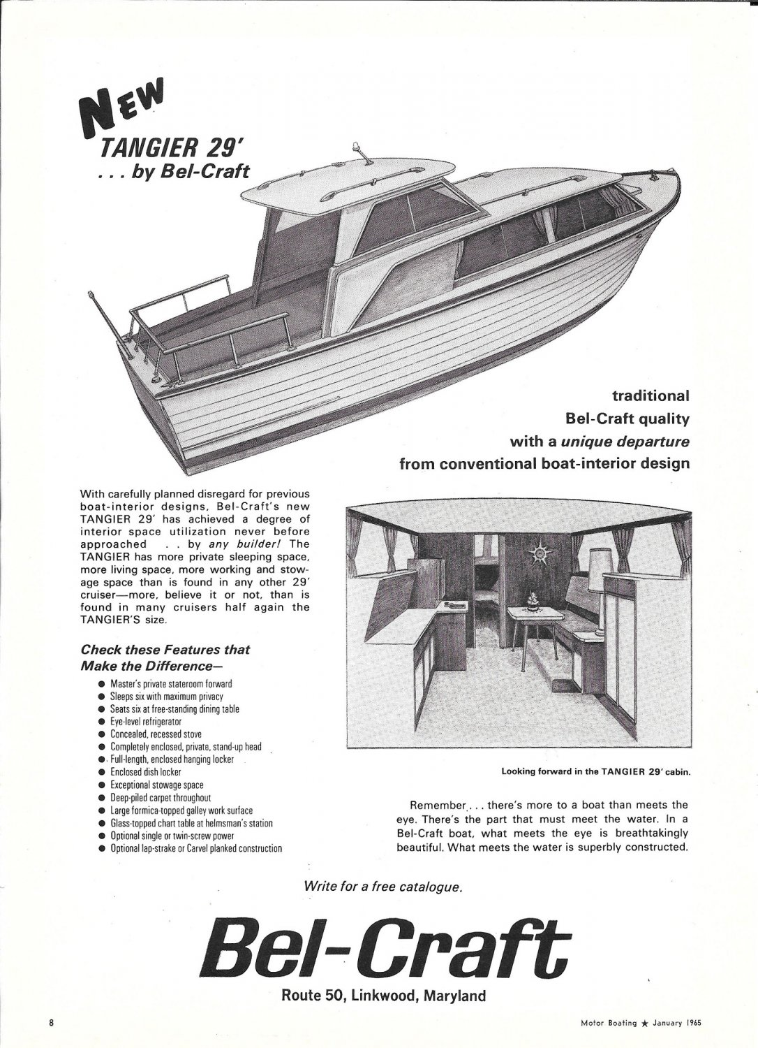1965 Bel- Craft Tangier 29' Boat Ad- Drawing