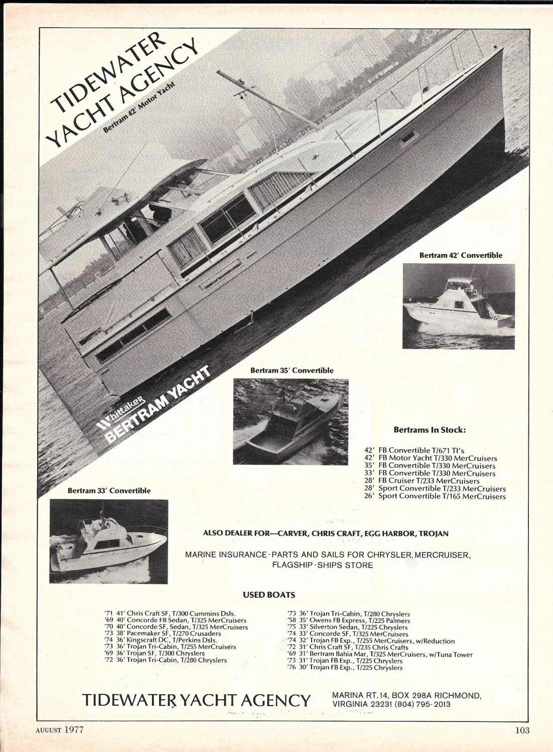 1977 Bertram Yachts Featured in Tidewater Yacht Agency Ad- 42- 33- 35 & 42' Models