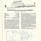 1977 Hunt 55 & Hatteras 37 2 Page Double Yacht Ads- Drawing & Boat Specs