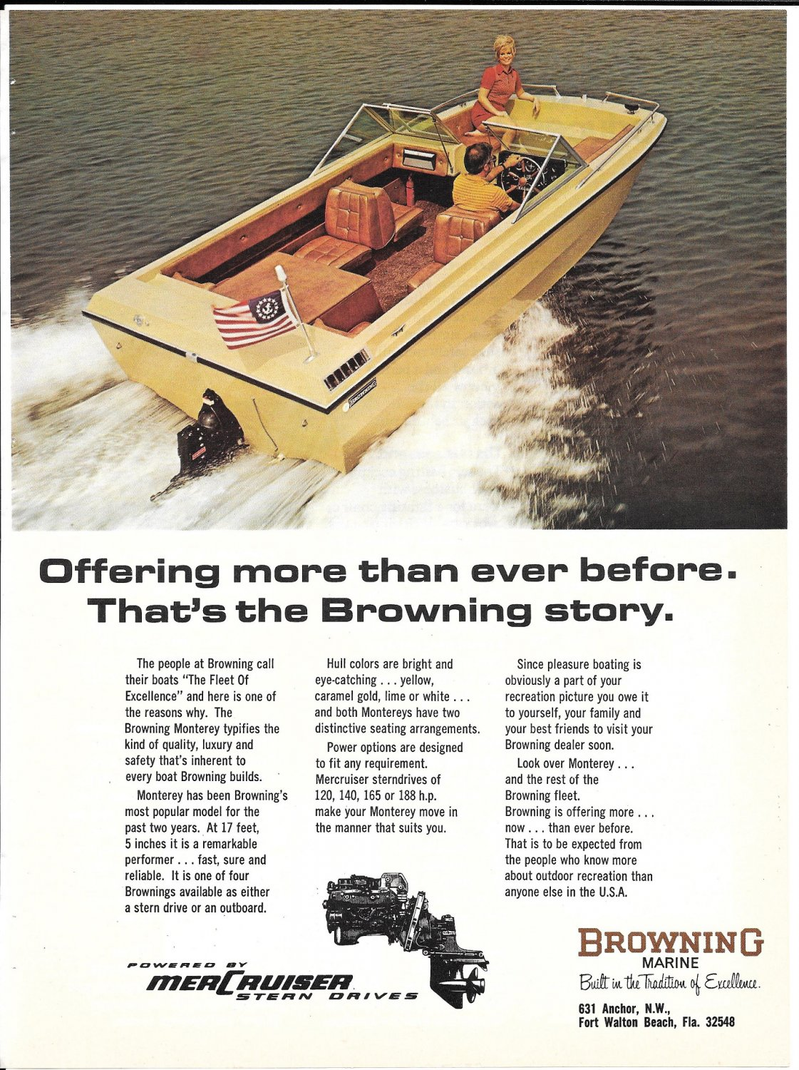 1973 Browning Monterey 17' Boat Color Ad- Nice Photo