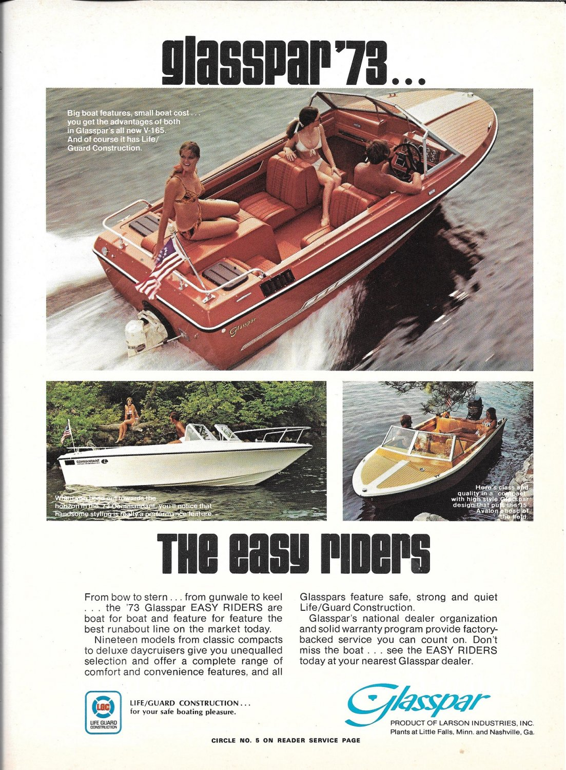 1973 Glasspar Boats & Uniflite 36 3 Page Double Boat Ads- Nice Photos- Hot Girls