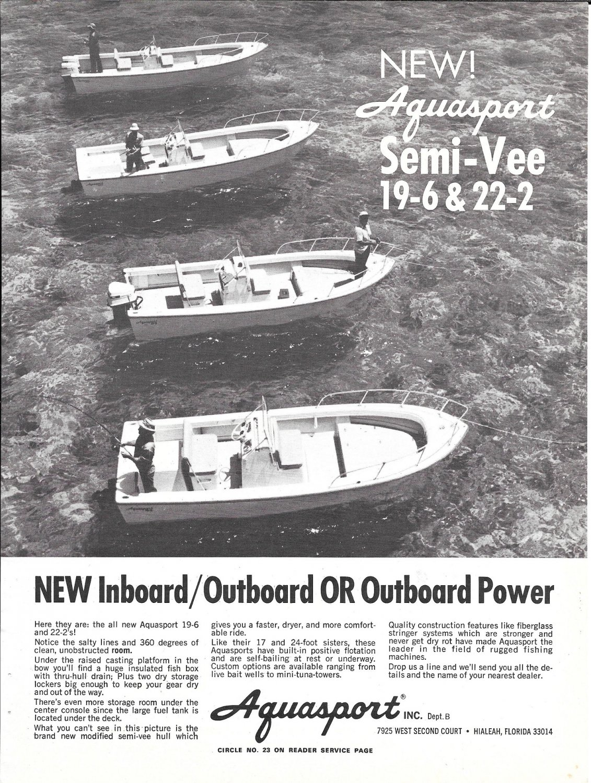 1973 Aquasport Boats Ad- Nice Photo 19-6- 22-2