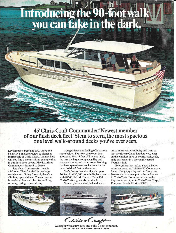1972 Chris- Craft Commander 45 & Johnson Outboard 2 Pg Double Ad- Nice Photos- Hot Girl