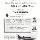 1953 Champion Spark Plugs Ad- Nice Photo Hydroplane Slo- Mo- Shun IV