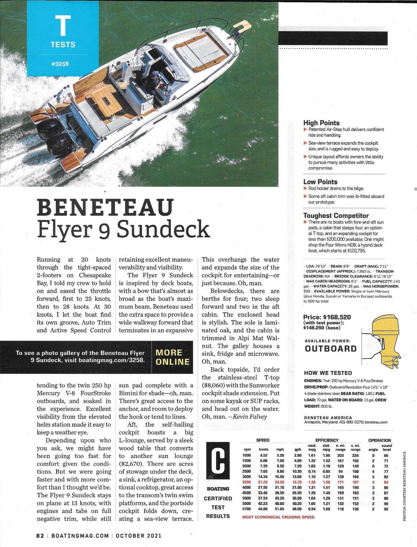 2021 Beneteau Flyer 9 Sundeck Boat Review- Photo & Boat Specs