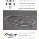 1945 Century Boat Co Ad- Drawing of 1946 Utility 15' Model