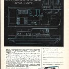 1969 Boatel 35' Cougar Houseboat & Zodiac Super Whale 2 Pg Double Ad- Photo & Drawing
