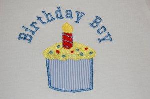 Birthday Boy Shirt with Applique Cupcake