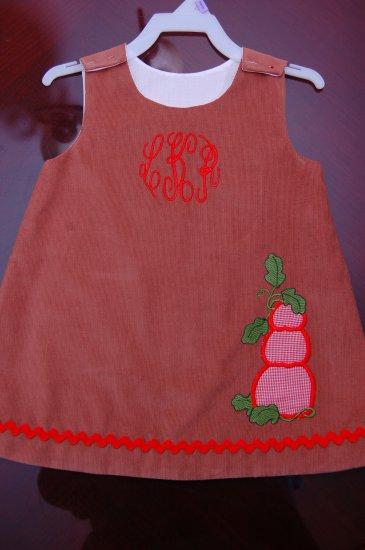 Pumpkin dress with monogram