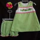 Green Gingham Frog Dress