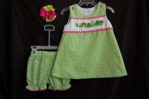 Green Gingham Frog Dress