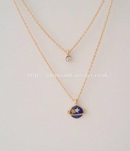 Blue Planet Universe Fantasy Charm Gided Japanese Style Necklace