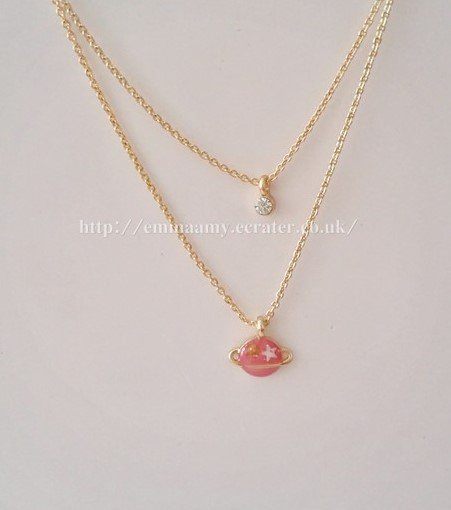 Pink Planet Universe Fantasy Charm Gided Japanese Style Necklace