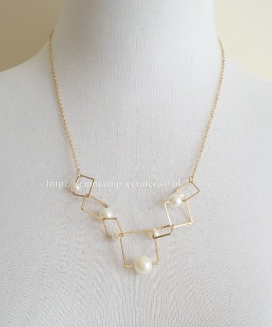 Geometric Pearl  Gold Chain Japanese Style Necklace