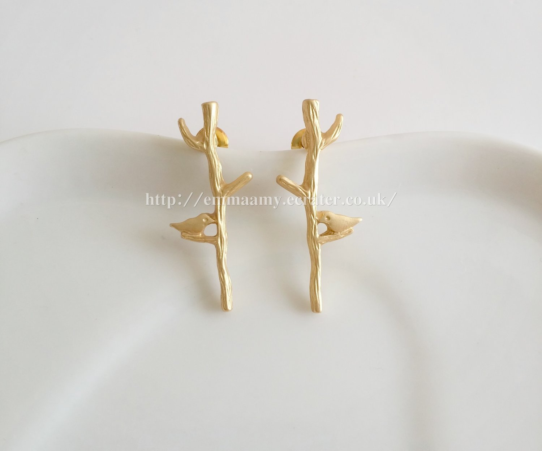 Matte Gold Bird Tree Stud Earrings