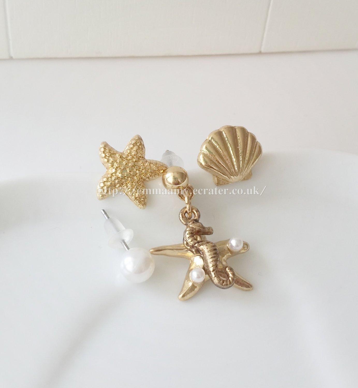 Gold Starfish Hippocampus Stud Earrings Set