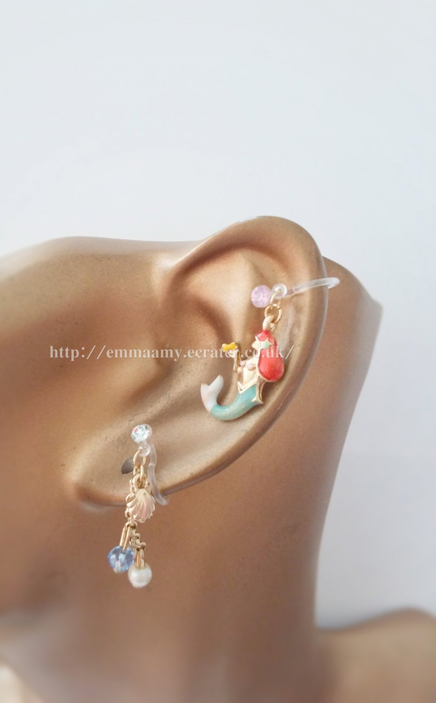 Fairy Mermaid Green Ear Clips Set