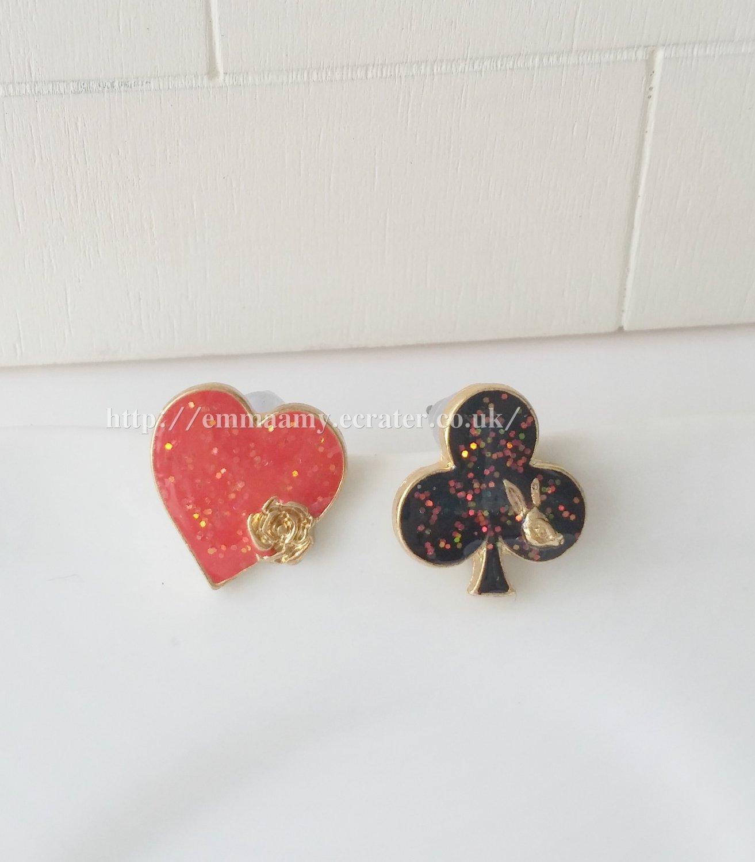 Blank Plum Red Rabbit Hearts Stud Earrings