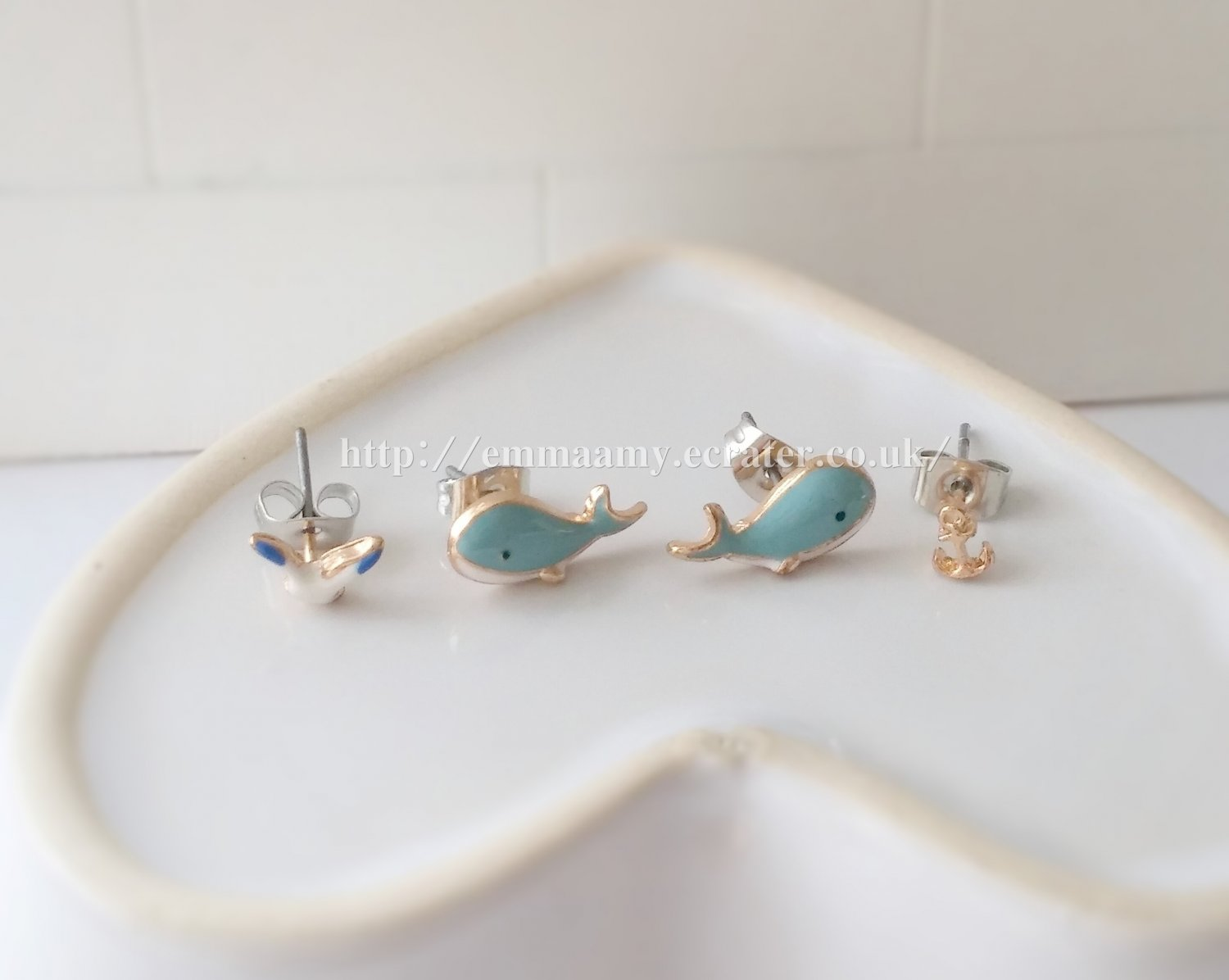 Light Blue Cute Dolphin Seagull  Stud Earrings Set
