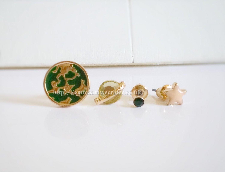 Dark Green Earth Planet Stud Earrings Set