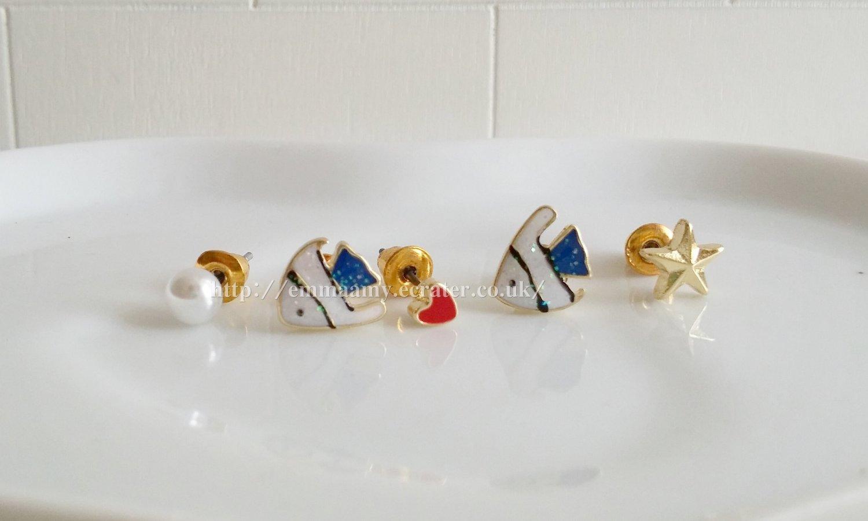 Blue Cute Fish Heart Star Stud Earrings Set