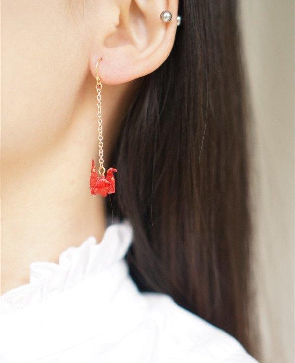 Red Junior Childike Cute Origami Single Earrings
