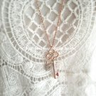 Love Key Delicate Charm Rose Gold Plated Long Necklace