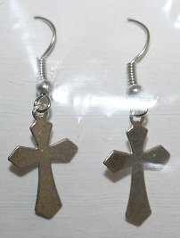 Fancy Cut Silver Cross Ear Rings
