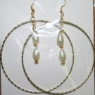 Gold Hoop Long Pearl Dangly Ear Rings