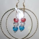 Gold Hoop Red White and Blue Heart Dangly Ear Rings