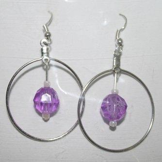 Silver Hoop Lavender Dangly Ear Rings