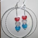 Silver Hoop Red White and Blue Heart Dangly Ear Rings