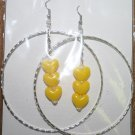 Silver Hoop Yellow Heart Dangly Ear Rings