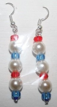 Red White and Blue with 3 Pearls Ear Rings