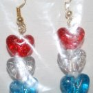 Red White and Blue Hearts Ear Rings