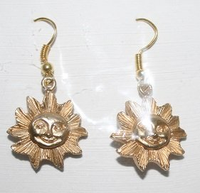 Gold Smiling Sun Ear Rings