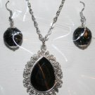 Black and Silver Necklace and Ear Ring Set