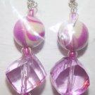 Elegant 12 Pink Swirl Bead and Clear Ear Rings