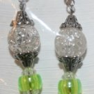 Elegant 39 Hanging Hearts on Clear and Yellow Green Beads Ear Rings