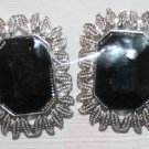 Elegant 44 - Beautiful Black Stone with Silver Border Ear Rings